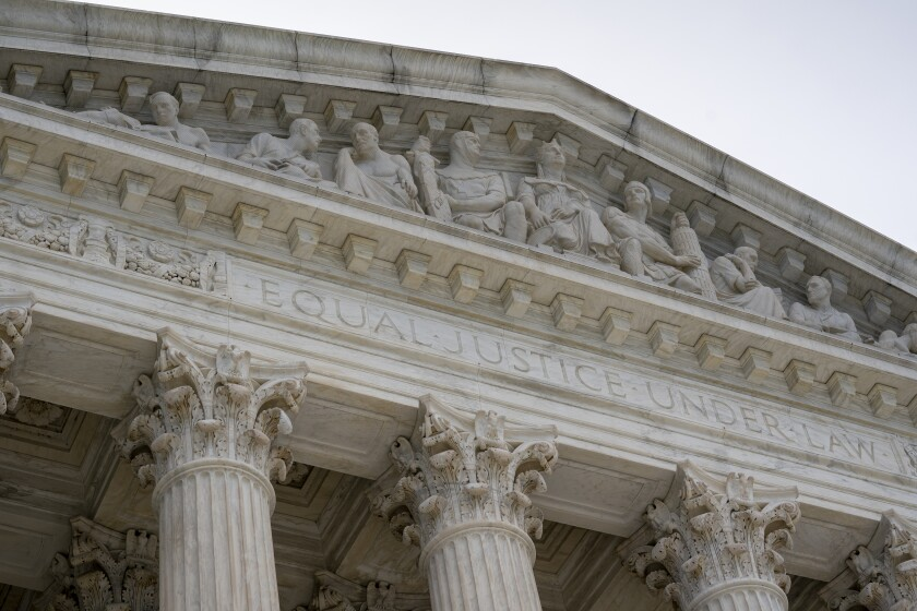 A closeup of the Supreme Court in June.