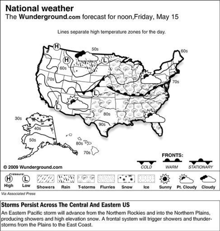 An Eastern Pacific storm will advance from the Northern Rockies and into the Northern Plains, producing showers and high elevation snow. A frontal system will trigger showers and thunder- storms from the Plains to the East Coast.