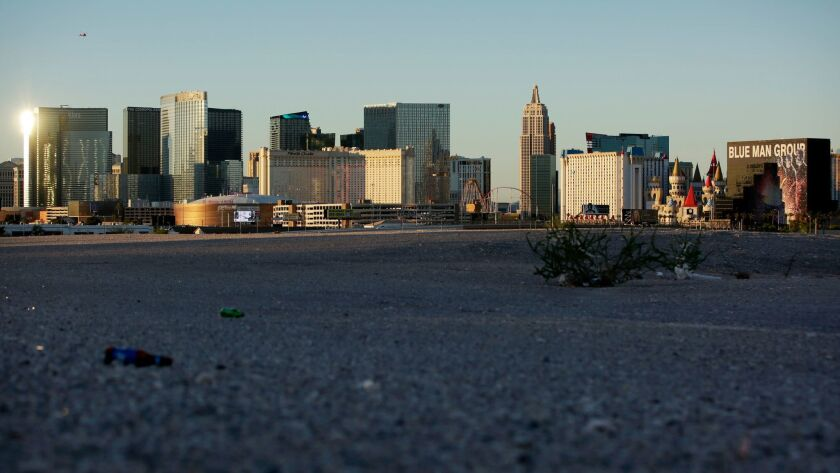 The Las Vegas Strip as seen from a nearby empty lot on May 1.
