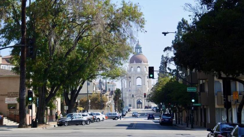 Pasadena City Hall looking down Holly Street. (Amy T. Granite)