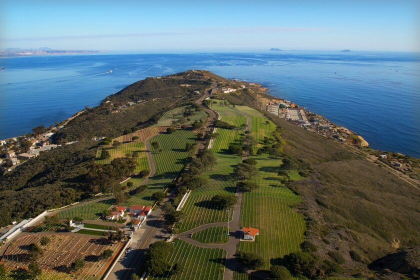 An aerial view of Fort Rosecrans National Cemetery and Point Loma and Coronado Islands.