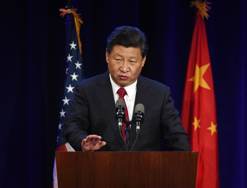 Chinese President Xi Jinping speaks during his welcoming banquet in Seattle at the start of his visit to the U.S.