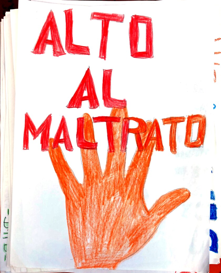 """A drawing in support of the Georgia immigration detainees states in Spanish """"Alto al maltrato,"""" or """"Stop the abuse."""""""