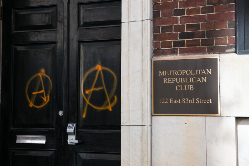 Vandalism on the Metropolitan Republican Club at 122 East 83rd Street, which occurred last night, that the members claim to be the doing of Antifa, Manhattan, New York, Friday, October 12, 2018.