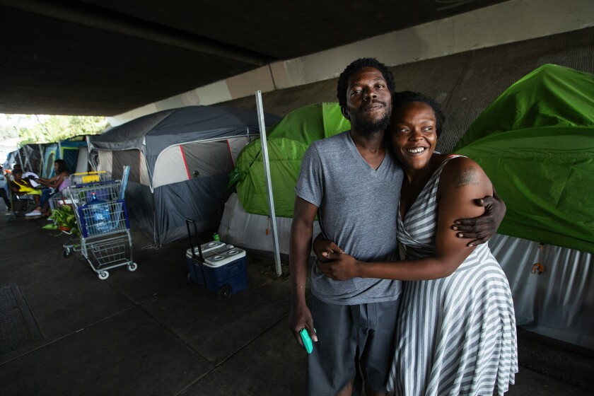 Michelle Vaughn, 24, and Edwin Williams, 31, live in a homeless encampment under the Ronald Reagan Freeway in Pacoima.