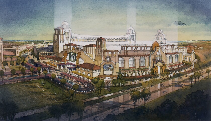 "A rendering shows ""The Hacienda,"" an NFL stadium proposed for Carson in 1998 by entertainment executive Michael Ovitz."