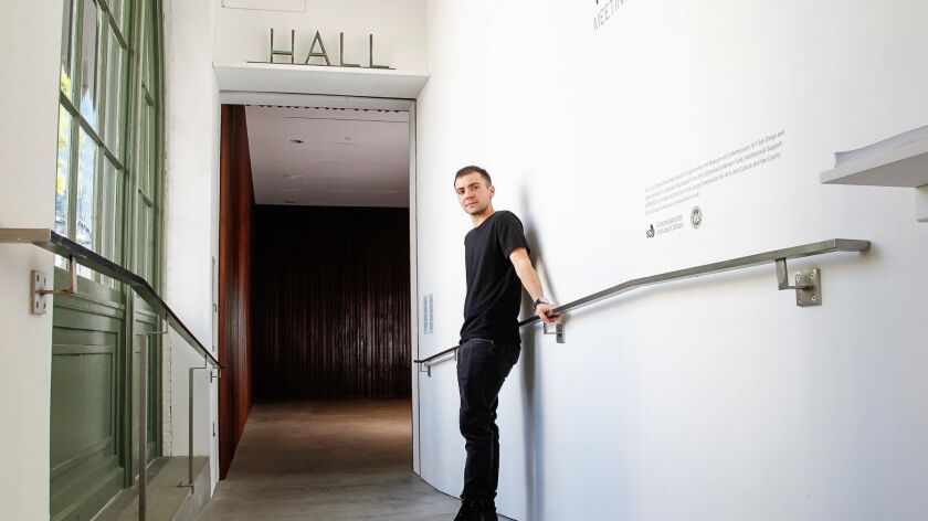 SAN DIEGO, CA April 20th 2018 | Artist Yve Laris Cohen stands in his new exhibition, called Meeting