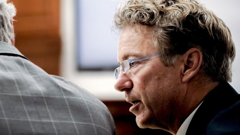 Sen. Rand Paul (R-Ky.) talks with his attorney Tuesday, Jan. 29, 2019, during the second day of a civil trial involving Paul and his neighbor Rene Boucher in Warren Circuit Court in Bowling Green, Ky.