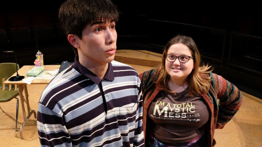"""Ramon Villa, left, and Wisdom Yarborough in Savannah Spatafora's """"Idiot, I'm Great,"""" one of four plays getting a full production at Playwrights Project's 33rd Plays By Young Writers Festival at The Old Globe."""
