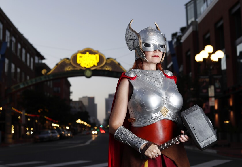 Colleen Rodriguez as Thor near the archway for the Gaslamp Quarter in downtown San Diego.