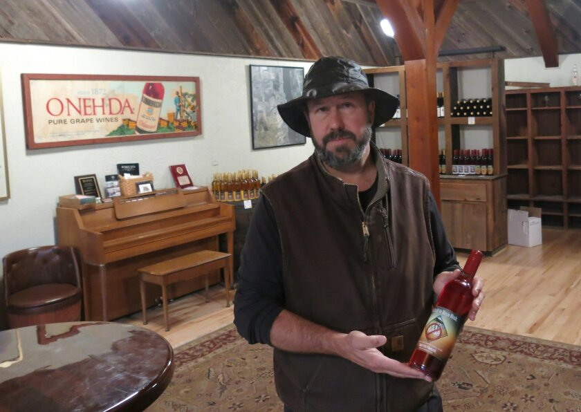 """In this photo taken on Thursday, Oct. 22, 2015, Will Ouweleen, owner of Eagle Crest and O-Neh-Da wineries, poses with a bottle of """"No Trash! Di Blasio Blush"""" in Conesus, N.Y.  Ouweleen rolled out the new label to protest a New York City contract to ship trash by train to a large landfill in the Fin"""
