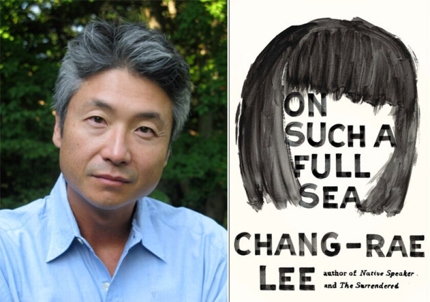 """Author Chang-Rae Lee and the cover of his book, """"On Such a Full Sea."""""""