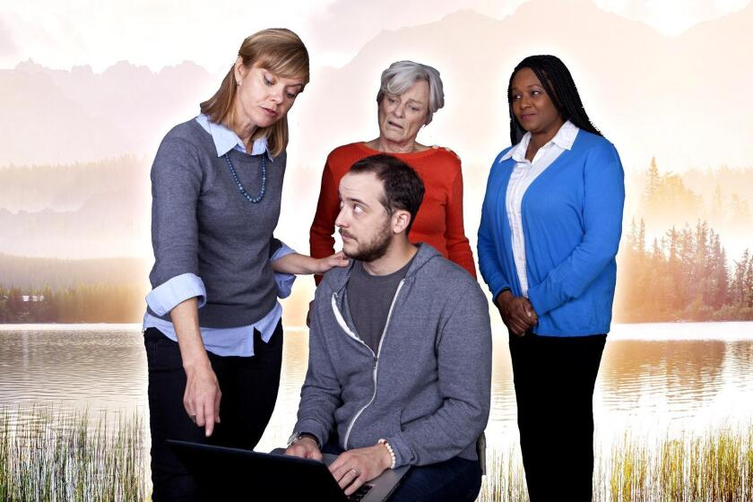 Kevin Hafso Koppman (seated) with Lisel Gorell-Getz, Anne Gee Byrd and Yolanda Franklin in the North Coast Repertory Theatre production of Steven Dietz's 'This Random World.' It runs runs Feb. 21 to March 18, 2018.