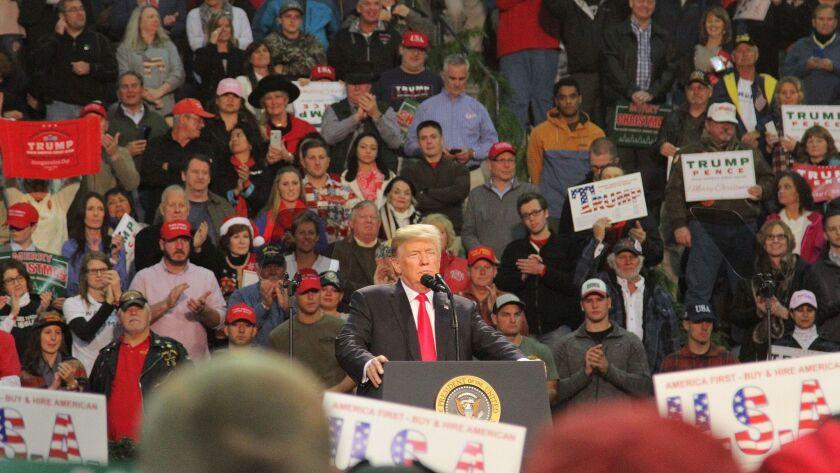 President Donald J. Trump speaks in Pensacola, Florida, on Dec 8.