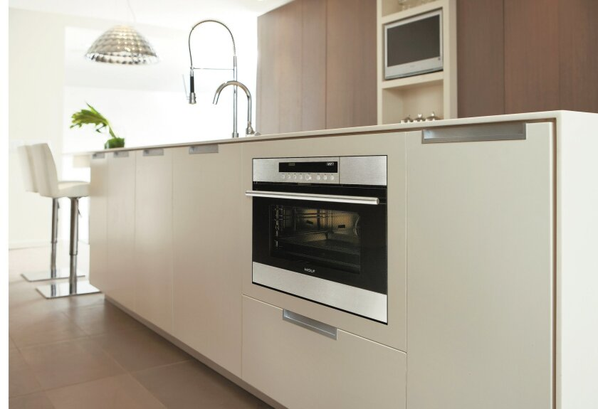 Wolf's new convection-steam oven can be your go-to appliance for a new island-based baking center.