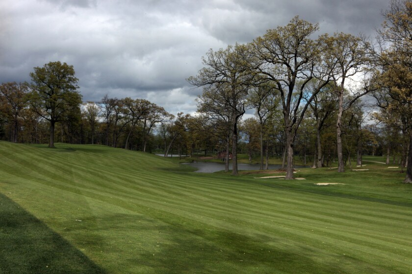 A view from the middle of the fairway to the green at the par-4 12th hole of Medinah's Course 3, where the Ryder will be played.