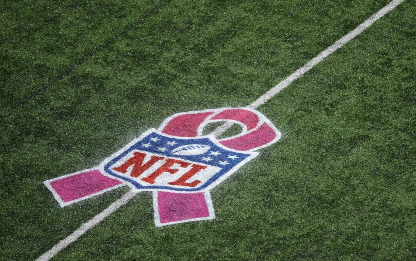 FILE - In this Oct. 14, 2012, file photo, an NFL pink ribbon logo commemorating Breast Cancer Awareness Month is painted on the field during an NFL football game between the Baltimore Ravens and the Dallas Cowboys in Baltimore. Procter & Gamble is canceling an on-field breast cancer awareness promo