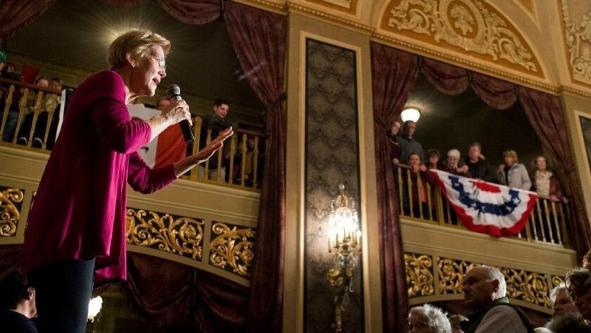 Sen. Elizabeth Warren of Massachusetts speaks at a campaign event at the Orpheum Theatre in Sioux City, Iowa, on Saturday.