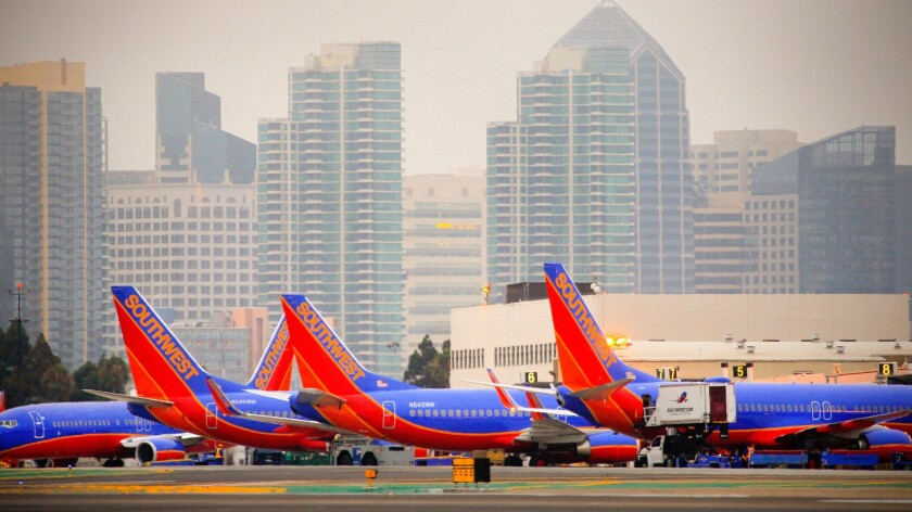 Southwest Airlines planes parked at Terminal 1 at San Diego International Airport Lindbergh Field.