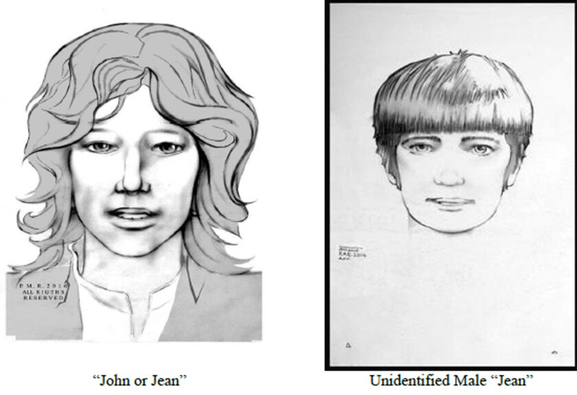 These sketches released by the Los Angeles Police Department show two men police are looking for in connection with the death of a 19-year-old Canadian woman found stabbed to death in Los Angeles in 1969.