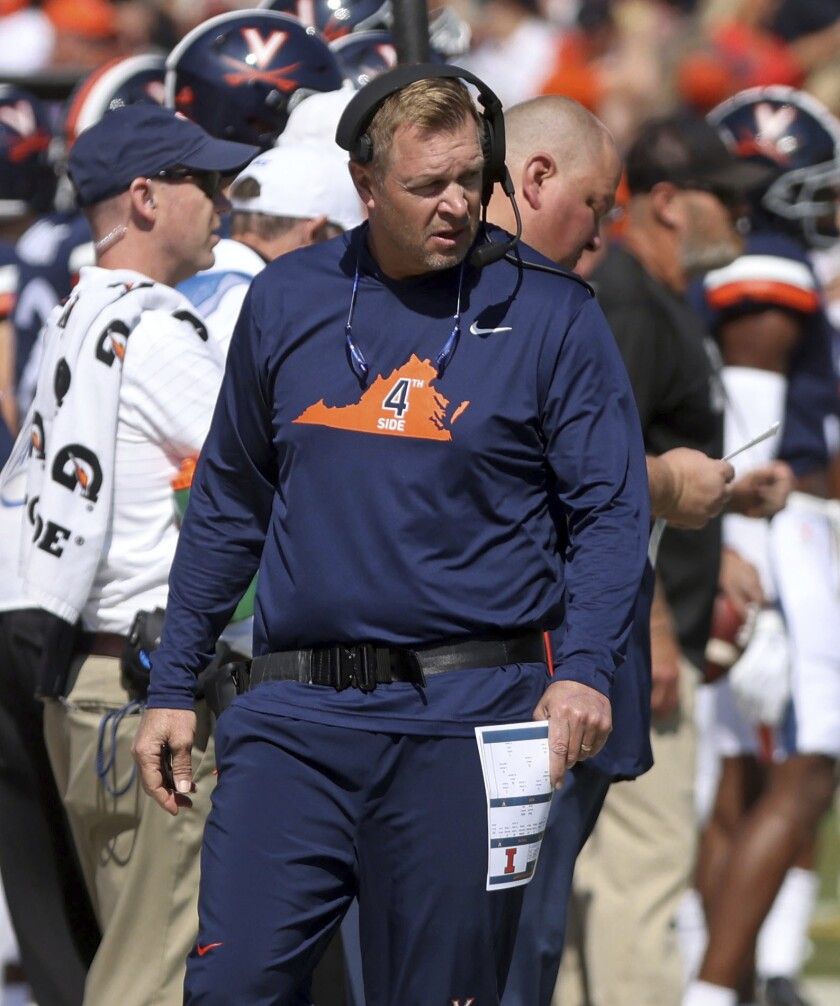 Virginia head coach Bronco Mendenhall watches during an NCAA college football game against Illinois, Saturday, Sept. 11, 2021, at Scott Stadium in Charlottesville, Va. (Andrew Shurtleff/The Daily Progress via AP)
