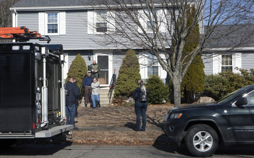 The FBI's Joint Terrorism Task Force descended on a home on March 1, 2018, in Beverly, Mass., where Daniel Frisiello lives with his parents. Federal authorities said Frisiello, of Beverly, is accused of mailing five envelopes earlier this month with threatening messages and a white substance, which turned out to be nonhazardous.