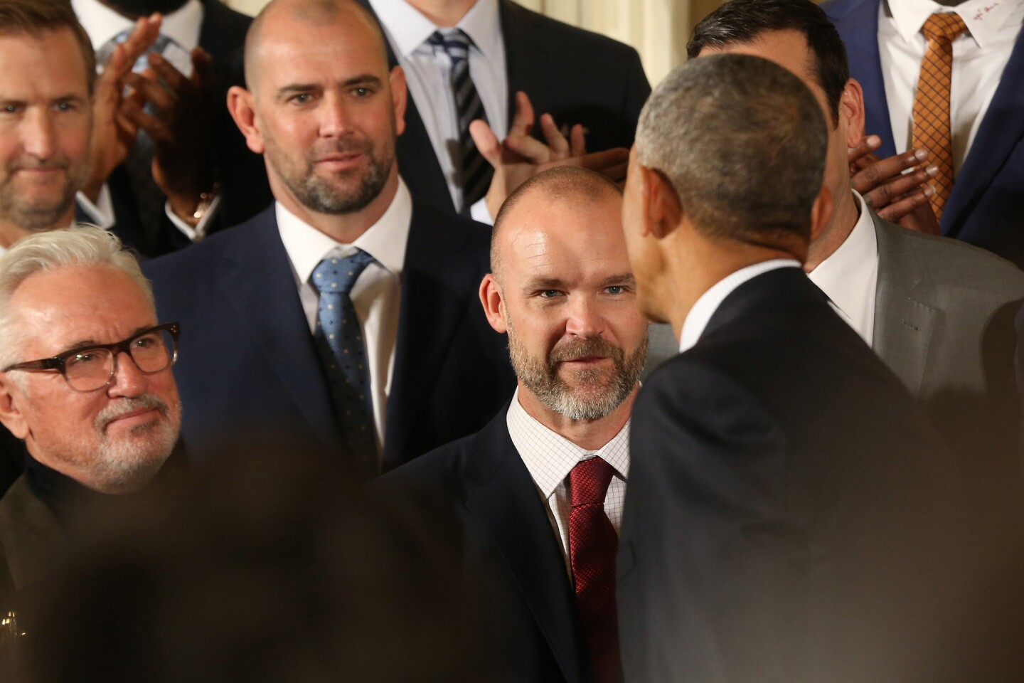Jan 16, 2017; Washington, DC, USA; President Barack Obama shakes hands with retired Chicago Cubs catcher David Ross (L) at a ceremony honoring the 2016 World Series Champion Chicago Cubs in the East Room at the White House. Mandatory Credit: Geoff Burke-USA TODAY Sports ** Usable by SD ONLY **