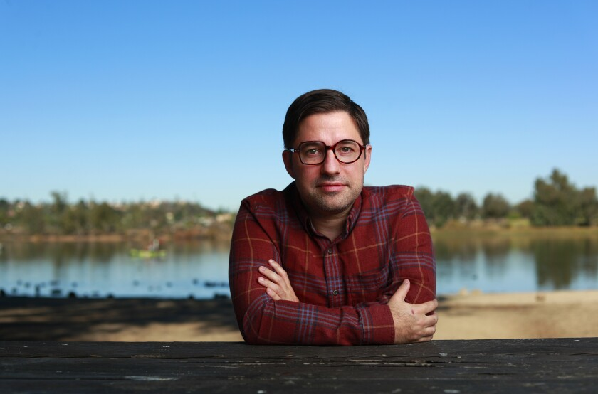 Actor and playwright Omri Schein, photographed at Lake Murray in La Mesa