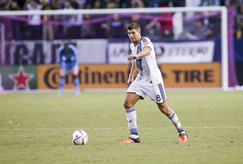 Los Angeles Galaxy midfielder Steven Gerrard plays during an MLS soccer game between the Galaxy and Portland Timbers earlier in the season.