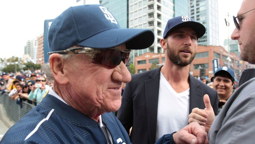 Randy Jones, at left during a Celebrate San Diego rally in February 2017, continues to work his way back from throat-cancer treatments. The Cy Young winner recently turned 68.