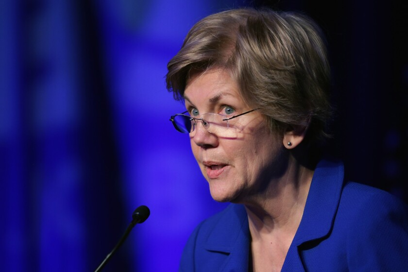 Sen. Elizabeth Warren (D-Mass.) and five other U.S. senators have urged the Federal Communications Commission and U.S. Department of Justice to block the proposed merger of Comcast Corp. and Time Warner Cable.
