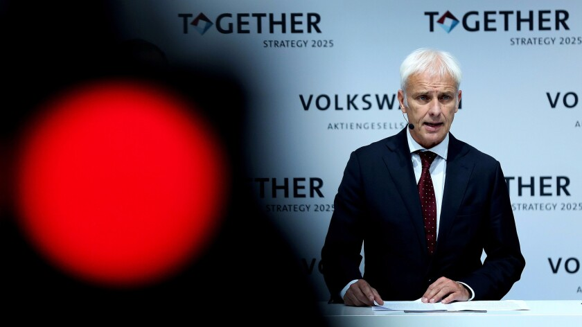 Volkswagen CEO Matthias Mueller speaks Thursday at a news conference to present long-term plans for the scandal-hit carmaker.