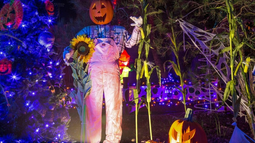 A smiling scarecrow welcomes visitors of all ages to the Halloween fun at Opportunity Village.