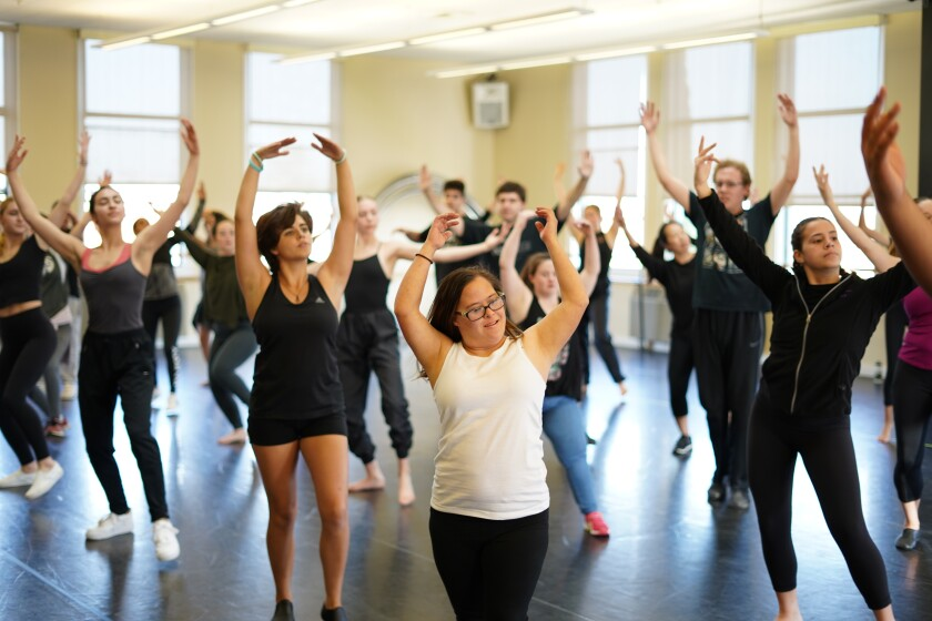 """Performers from Malashock Dance's thisABILITY Moving with Mraz program rehearse one of their songs for """"Shine."""""""