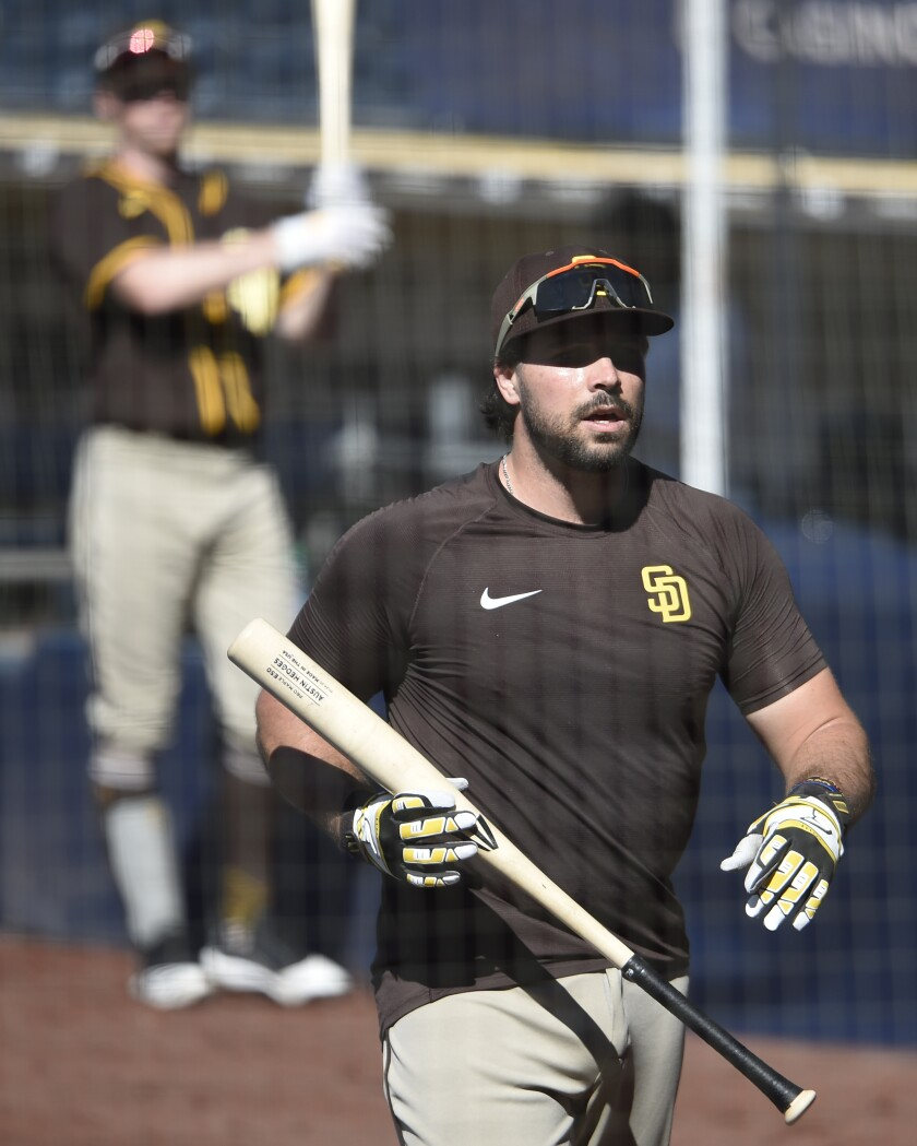 Austin Hedges during a Padres summer camp workout.