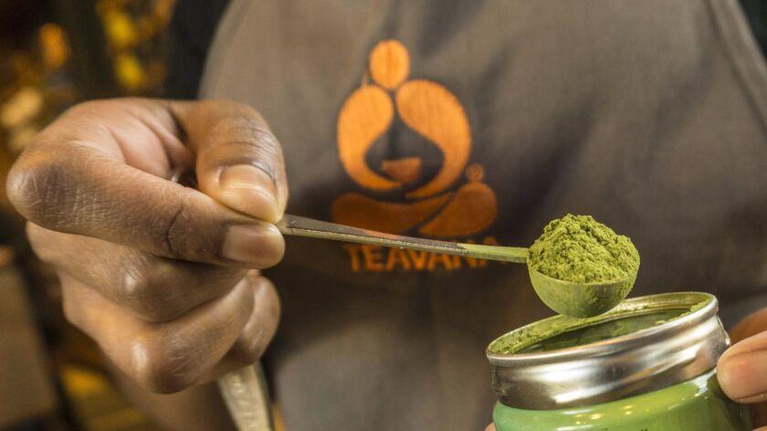 A Teavana barista prepares matcha tea in 2015.
