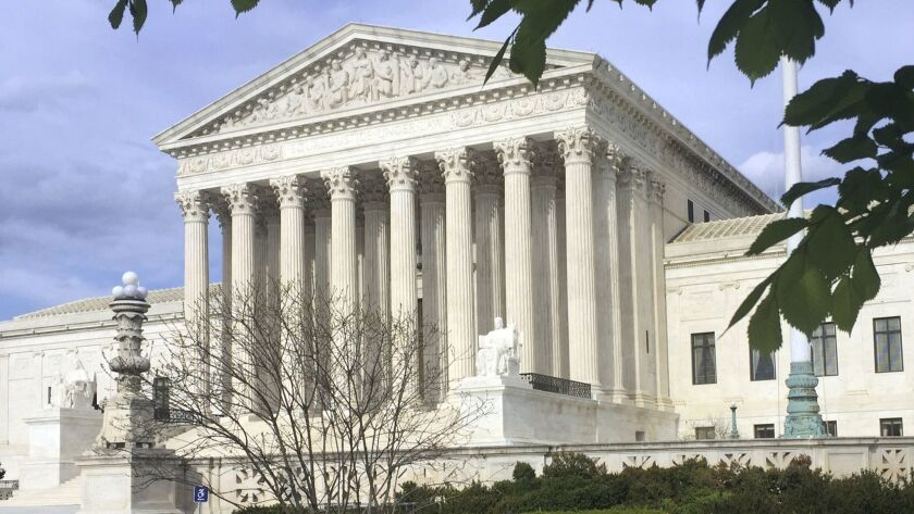 FILE - This April 23, 2018, file photo shows the Supreme Court in Washington. Supreme Court Justice