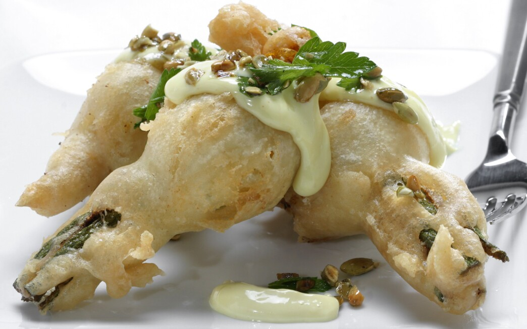 AOC stuffed squash blossoms with pepitas