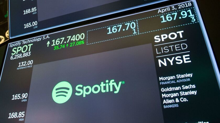 Spotify began trading Tuesday on the New York Stock Exchange.