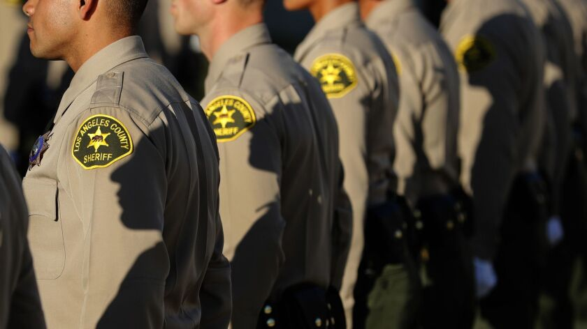 LOS ANGELES, CA-OCTOBER 27, 2017: Los Angeles County Sheriff's deputies stand at attention during t