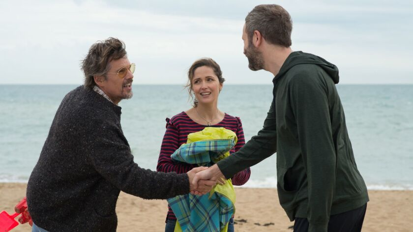 "The Jesse Peretz-directed ""Juliet, Naked,"" stars, from left, Ethan Hawke, Rose Byrne and Chris O'Dowd."