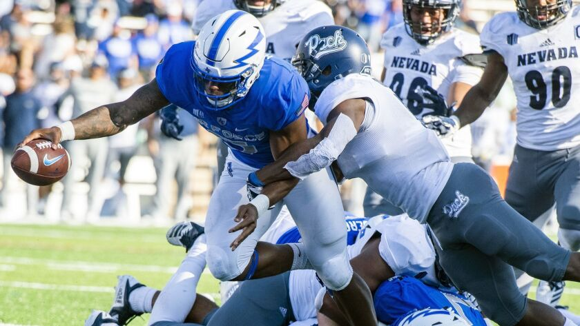 Air Force quarterback Donald Hammond III (5) dives for a touchdown against the Nevada during the sec