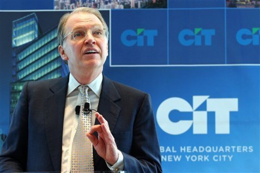 FILE - In this April 27, 2006 file photo, Jeffrey Peek, Chairman and CEO of CIT Group Inc., talks during the dedication of the CIT global headquarters in New York. CIT, which in April posted a wider-than-expected first-quarter loss, said late Sunday, July 12, 2009 that it will talk with regulators about the possibility of participating in the Federal Deposit Insurance Corp.'s Temporary Liquidity Guarantee Program. (AP Photo/Mark Lennihan, file)