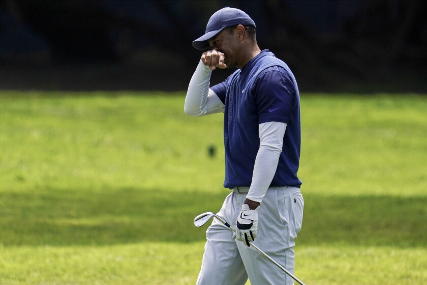 Tiger Woods walks to the 12th green during the third round of the PGA Championship Aug. 8, 2020.