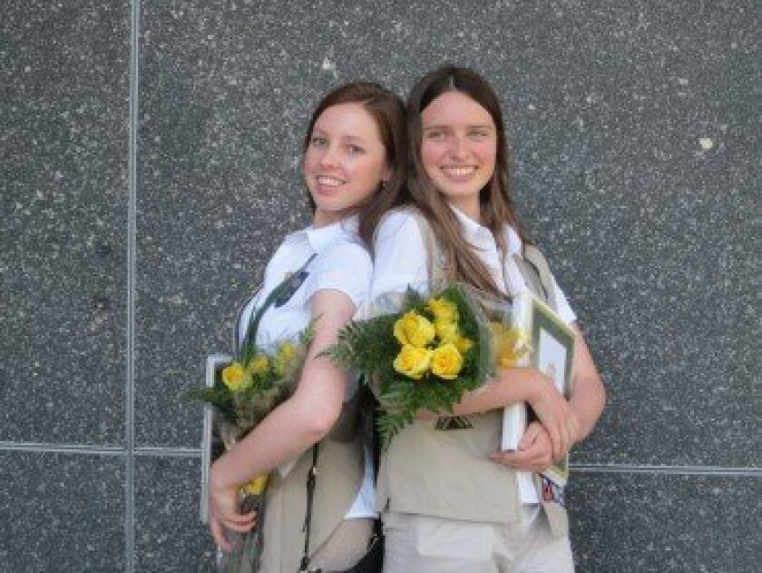 Elena Eroshkin and Natalie Nicolas recently received the Gold Award, Girl Scouts' highest honor.
