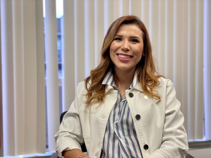 Governor-elect Marina del Pilar Ávila after an interview on Friday Sept. 24 at the Mexican Consulate in San Diego.