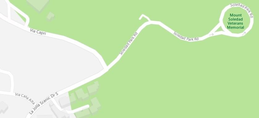 Intersection of La Jolla Scenic Drive South, Via Capri and Soledad Park Road