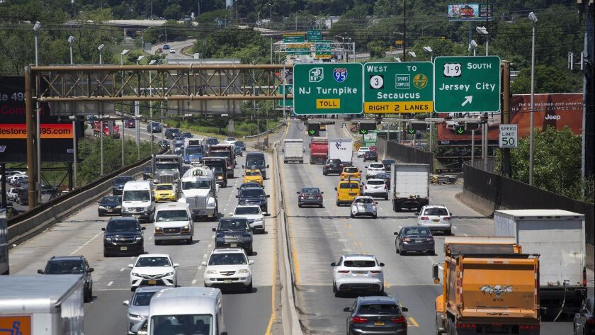 "Traffic passes over the Route 495 viaduct, in North Bergen, N.J. A $90-million rehabilitation project is expected to create ""severe congestion."""