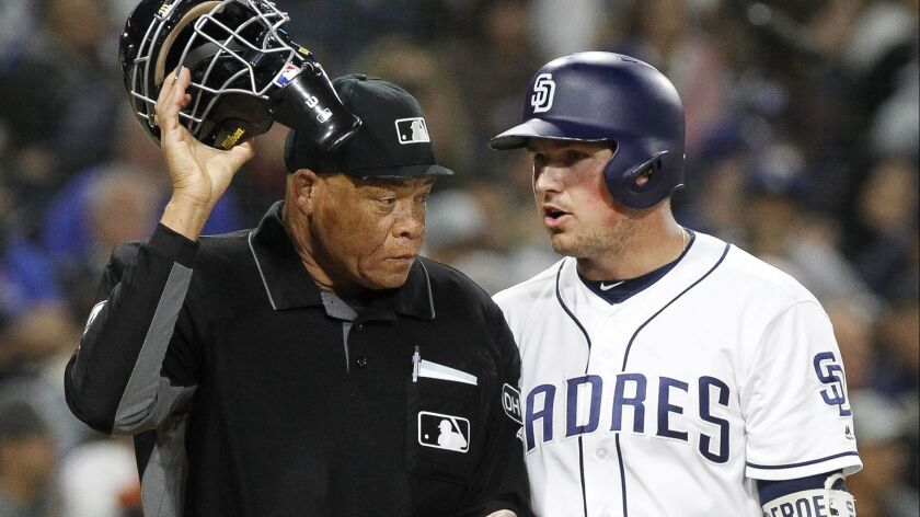SAN DIEGO, April 17, 2018 | The Padres' Hunter Renfroe has a discussion with home plate umpire Kerwi