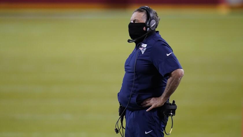 New England Patriots head coach Bill Belichick watches against the Kansas City Chiefs.